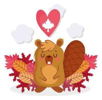 Beaver with maple leaf heart