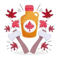 Canadian maple syrup, leaves, and axes