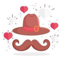 sombrero canadiense con bigote y corazones