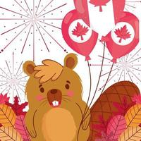 Beaver with Canadian balloons for happy Canada day