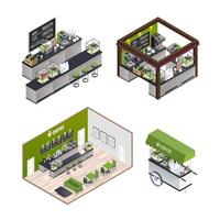 Set of isometric coffee shops  vector
