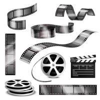 Realistic film strip reels set vector