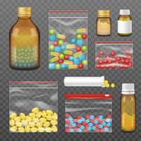 Realistic transparent package of medicine set