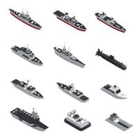 Isometric military ship set vector