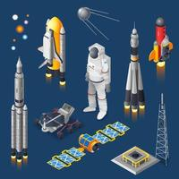 Isometric air and space icon set vector