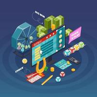 Isometric lottery and gambling elements vector