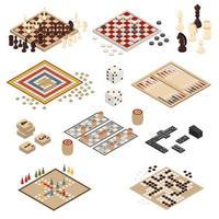 conjunto de juegos de mesa isométricos vector