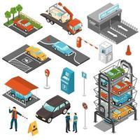 conjunto de garaje de estacionamiento isométrico vector