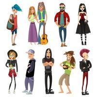 conjunto de dibujos animados de personas en diferentes subculturas. vector
