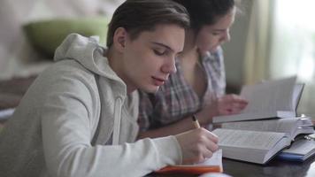jeune couple d'étudiants se préparant à l'examen.