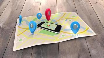 rote Markierung zeigt auf ein Handy, das auf einer Karte liegt, umgeben von blauen Markierungen