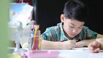 Mom is force her son to do homework of the school