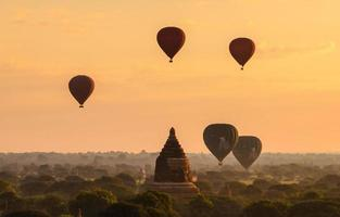 Balloon Bagan pagoda with sunrise photo