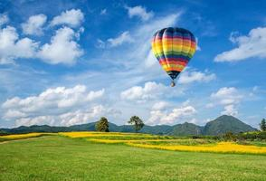 Hot air balloon over the yellow flower field