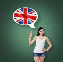 woman is pointing out thought bubble with Great Britain flag photo