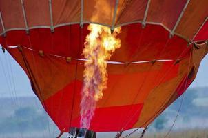 Inflating hot air balloon photo