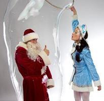 Image of happy Santa insede the soap bubble