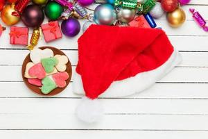 Santas hat and heart shape cookies