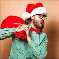 Photo of Santa Claus. Hipster style.