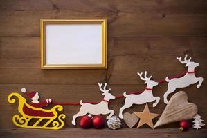 Santa Claus Sled, Reindeer, Christmas Decoration, Frame