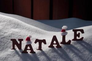 Card With Santa Hat And Snow, Natale Mean Christmas