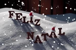 Card With Santa Hat,Snowflake, Feliz Natale Mean Merry Christmas