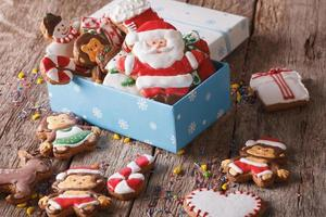 Beautiful Christmas gingerbread cookies in a gift box. horizonta
