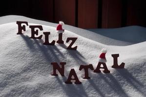 Card With Santa Hat, Snow, Feliz Natale Mean Merry Christmas