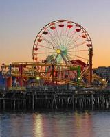 Santa Monica Old Ferris Wheel in California at Dawn