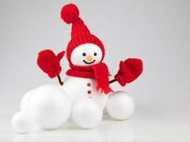 Snowman with snowball on white background