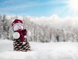 Winter snowy scenery with snow man