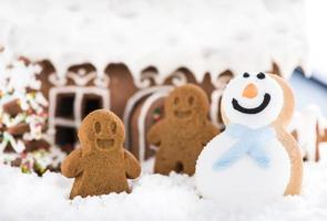Funny gingerbread kids play on snow