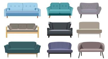 Collection of sofas in flat style