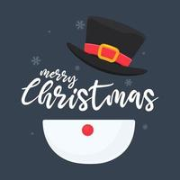 Snowman character with Merry Christmas text vector