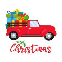 Red truck carrying large Christmas gifts