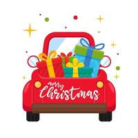 Red car or truck carrying presents in back