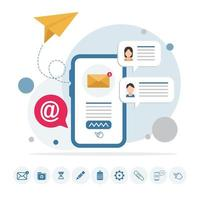 Email message on phone infographic with icons vector