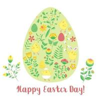 Easter card with egg shape with flowers and chickens