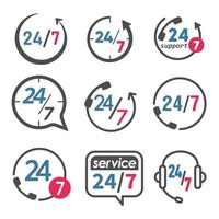 24 7 service and support icon set