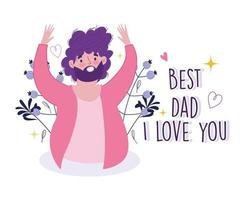 Happy fathers day. Cheerful bearded dad card vector