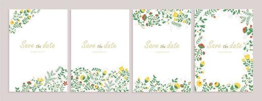 Set of greeting cards with floral decor. vector