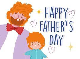 feliz Día del Padre. pelo rizado papá e hijo vector