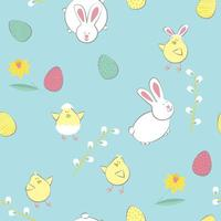 Easter pattern with eggs, rabbits, chickens, flower
