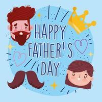 feliz Día del Padre. papá, hija y corona vector
