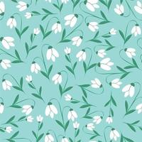 Snowdrops flower seamless botanic texture vector
