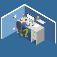 oficina isométrica con hombre trabajando en computadora