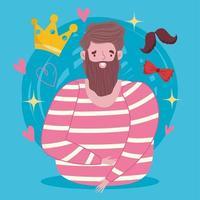 hombre barbudo con corona, bigote y pajarita