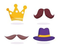 Gold crown, moustaches, and hat icons set vector