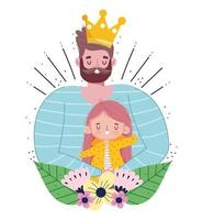 Bearded dad with crown holding daughter  vector