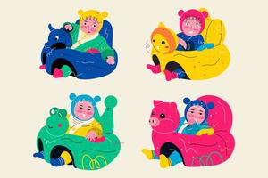 Lovely animal infant safe support seat vector